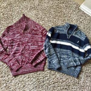 Boys nautica sweaters lot of 2 navy/red size 5/6